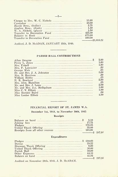 Page 5 of  1945 Annual Report of St. James Anglican Church, Carleton Place, Ontario.