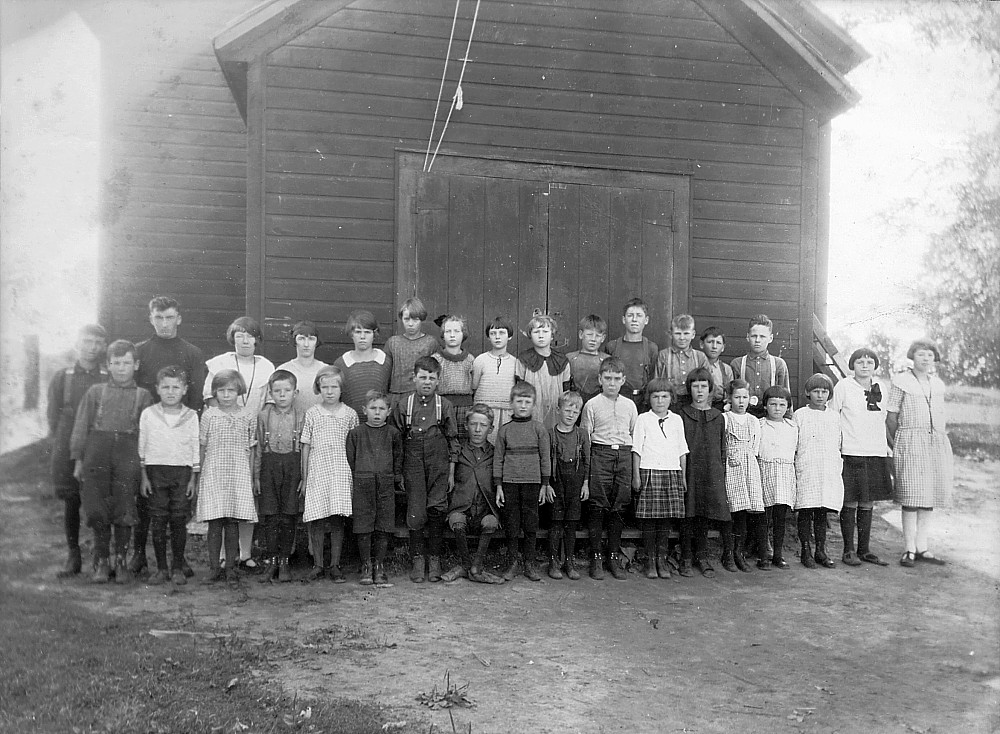 Photograph of a class in front of the school at Elphin, Ontario, about 1918.