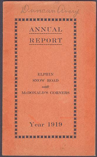 Cover of Elphin Church 1919 Financial Statement.