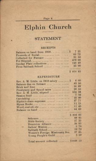 Elphin Church 1919 Financial Statement, page 4.
