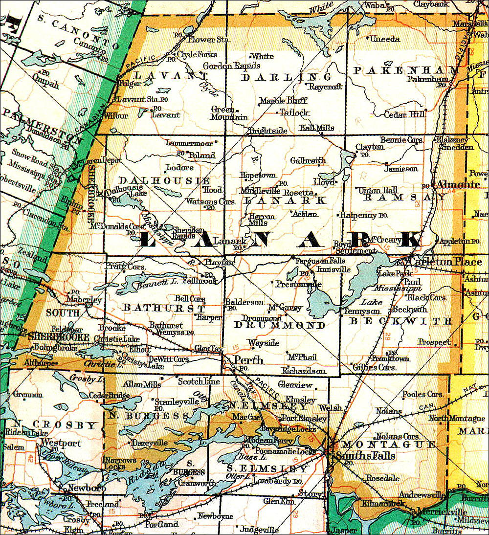 Lanark County map, 1940-51, from the Ontario Archives.