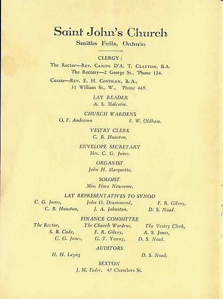 Inside front cover of Saint John's Church, Smiths Falls, 1929 Annual Report.