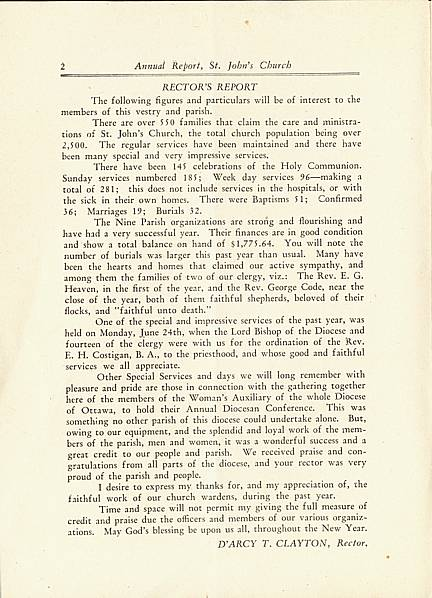 Page 2 of Saint John's Church, Smiths Falls, 1929 Annual Report.