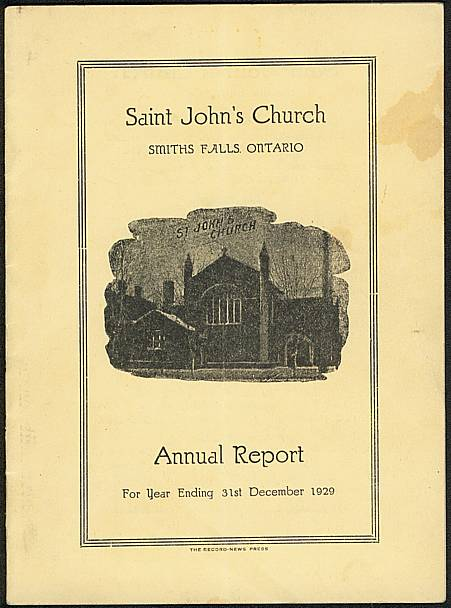Cover of Saint John's Church, Smiths Falls, 1929 Annual Report.